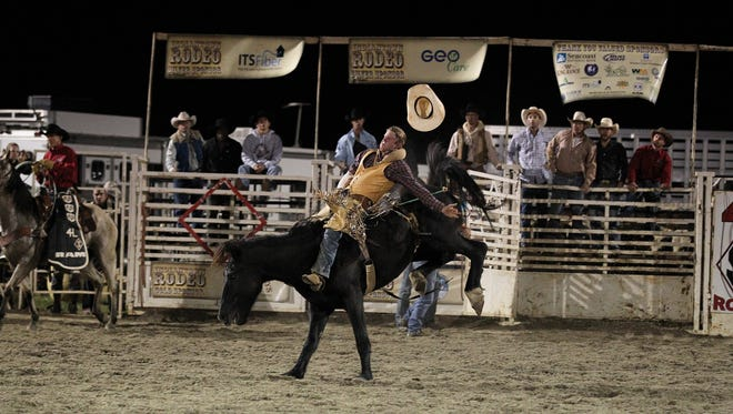 Bareback competitor Tray Chambliss of Texas at a previous Indiantown Rodeo.