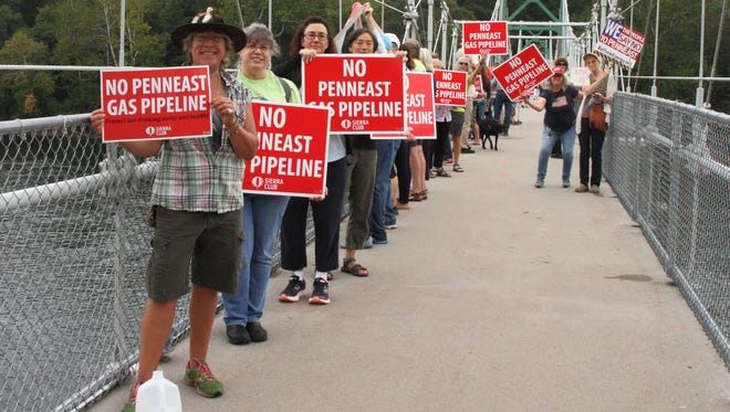 Environmental advocates, including members of the New Jersey Sierra Club, mobilize at Bull's Island Recreational Area in Stockton to oppose the building of the PennEast Pipeline. [ARCHIVE PHOTO]