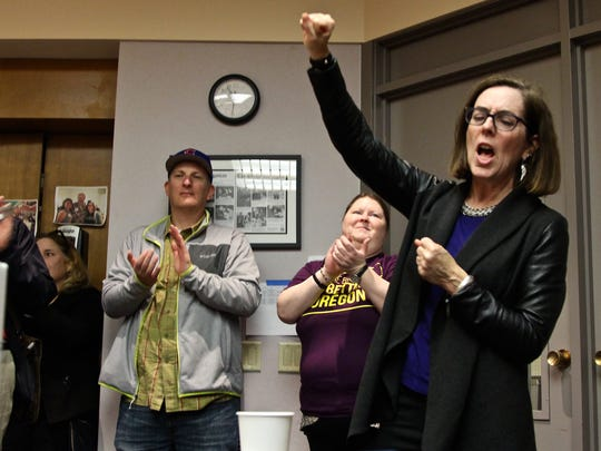 Governor Kate Brown rallies volunteers for Moms Demand Action for Gun Sense in America as they prepare a canvassing effort to support Representative Paul Evans for House District 20 on Saturday, Oct. 29.