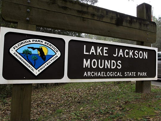 The Lake Jackson Mounds Archaeological Park is located at 3600 Indian Mounds Road in North Tallahassee.
