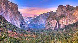 Sunset at Yosemite National Park with Bridalveil Falls, El Capitan and Half Dome