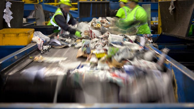 Sorting recyclables.