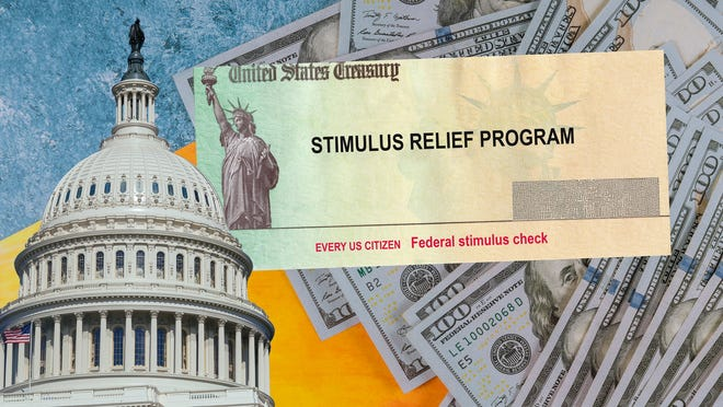 Collage of stimulus check, hundred-dollar bills, and U.S. Capitol.