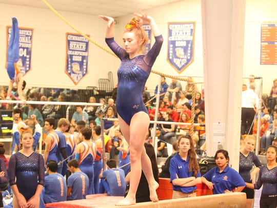 San Angelo Central High School's Valyssa Hartman will try to help the Lady Cats rally from fifth place when the 2018 Texas High School State Gymnastics Championships wrap up Saturday at the Rockwall-Heath High School gym.