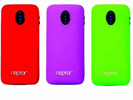 A line of colorful battery packs from Neptor can brighten your space while also juicing up your favorite devices. Available in vivid orange, red, purple, green and blue with matching USB charging cords, the NP056K Portable Battery Pack comes with a lithium polymer battery that can deliver more than 500 recharges.