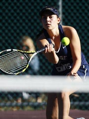 St Elizabeth's Dominique Polanco hits a forehand during the Morris County Tournament girls tennis preliminary rounds at County College of Morris. September 23, 2017, Randolph, NJ