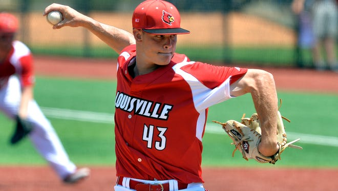 Louisville's Zack Burdi (43) pitches in to UC Santa Barbara side during the ninth inning of an NCAA college baseball tournament super regional game, Sunday, June 12, 2016 in Louisville Ky. (AP Photo/Timothy D. Easley)