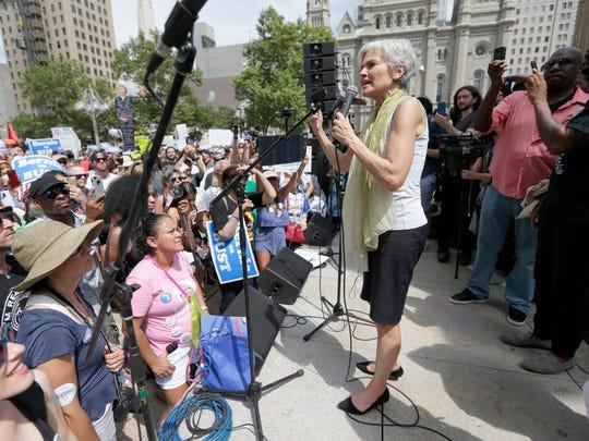 Jill Stein speaks to a crowd outside the Philadelphia