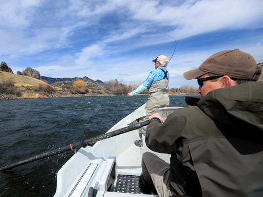Diane Wright fishes the Missouri River with Gary Owen