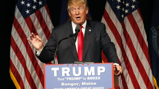 Donald Trump speaks at a rally June 29 in Bangor, Maine.