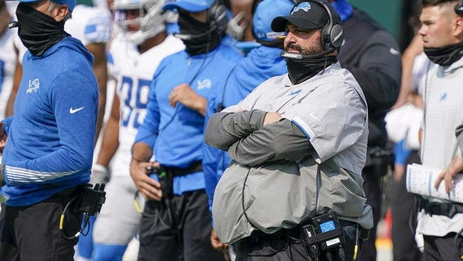 Detroit Lions head coach Matt Patricia watches during the second half of an NFL football game against the Green Bay Packers Sunday, Sept. 20, 2020, in Green Bay, Wis.