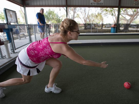 Cape Coral resident Sarah Jane Frame lets it roll during