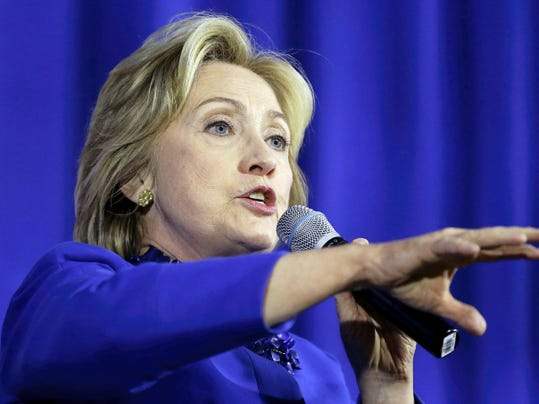 Democratic presidential candidate Hillary Rodham Clinton speaks during a forum on substance abuse, Thursday, Oct. 1, 2015, in Boston. Clinton was joined by fellow Democrats Boston Mayor Marty Walsh and Massachusetts Attorney General Maura Healey. (AP Photo/Steven Senne)