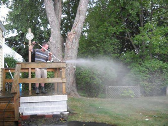 Brandy Youland's husband, Peter, power washed the deck