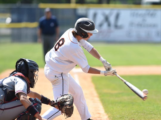 Marlboro's Sam Mongelli hits a single during Thursday's Class B regional semifinal win over Keio Academy at Cantine Field in Saugerties.