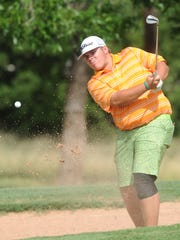 Jaryn Pruitt, who will be a senior at Brownwood, hits from the bunker at 15 on the final day of the West Texas Junior Open on Thursday at the Abilene Country Club's Club Course. Pruitt beat Abilene's Karson Grigsby in a one-hole playoff for second in the boys ages 15-18 division after both tied at 142. Snyder grad Jake Leatherwood won the division by a stroke.