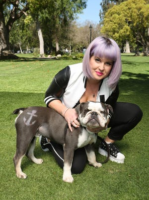 Kelly Osbourne with her English Bulldog, Willie, who has an anchor decoration from PetSmart's Pet Expressions grooming offering.