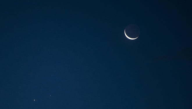 A crescent moon will follow the new moon.