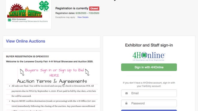 The home page of the auctions website of the 2020 Lenawee County Virtual Fair is pictured. People looking to support 4-H members by bidding on their projects are asked to call the Michigan State University Extension office to set up a bidding account.