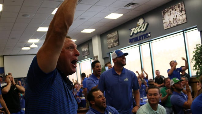 Founding head coach Dave Tollett reacts to hearing FGCU will be a No. 2 seed in the Chapel Hill region during program's NCAA watch party in the Alico Arena Hospitality Suite on Monday, May 29, 2017. The No. 2-seeded Eagles (42-18) will face No. 3 Michigan (42-15) on Friday in the Chapel Hill region.