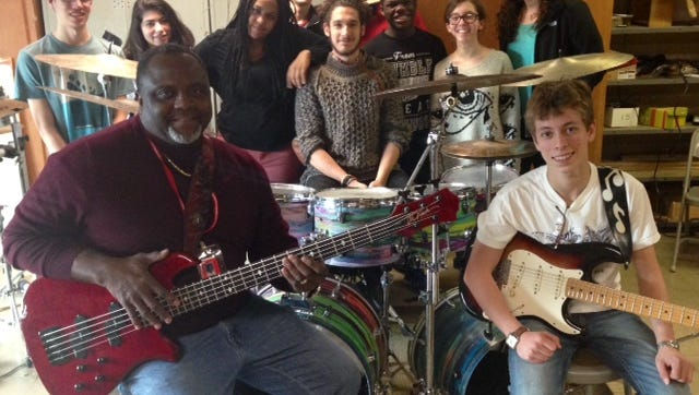 Under the direction of Cecil Leonard (front left), Inspiration East plays funk, jazz and R&S at Cherry Hill East.