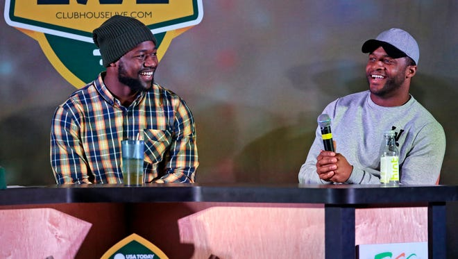 Green Bay Packers wide receiver Ty Montgomery (left) co-hosted Monday's Clubhouse Live in downtown Appleton. Montgomery's guest was fellow wide receiver Randall Cobb. Watch a replay of the show at clubhouselive.com.