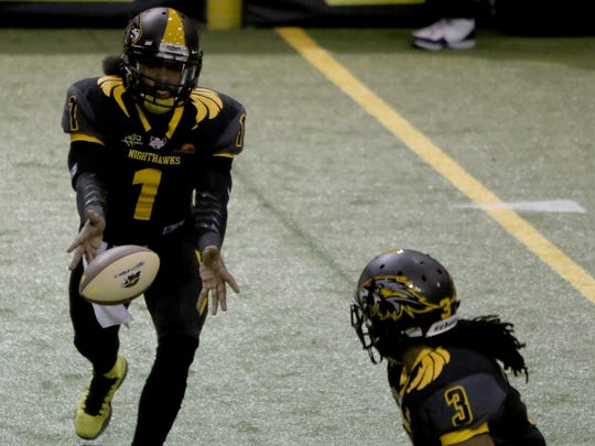 Wichita Falls Nighthawks' Charles McCullum tosses the