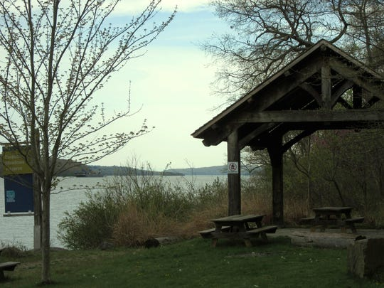 A wooden gazebo is a comfortable spot to stop for a picnic at the preserve.