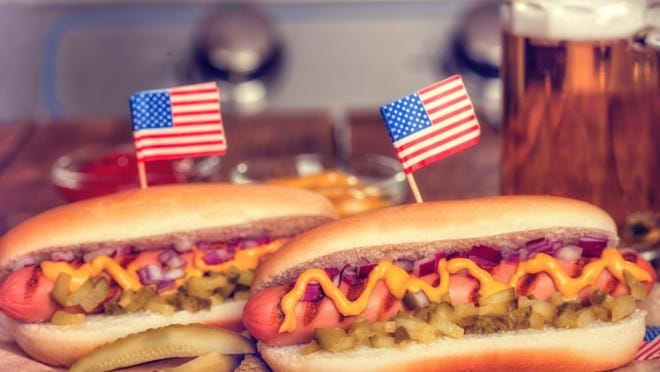 Hots dogs served at a Fourth of July picnic