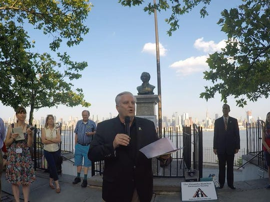Doug Hamilton, Alexander Hamilton's fifth great-grandson, speaks at the gathering for the 211th duel anniversary at the Hamilton Memorial in Weehawken during CelebrateHAMILTON 2015.