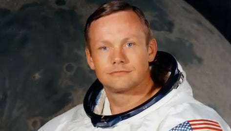 Neil Armstrong, first man to set foot on the moon, is shown
