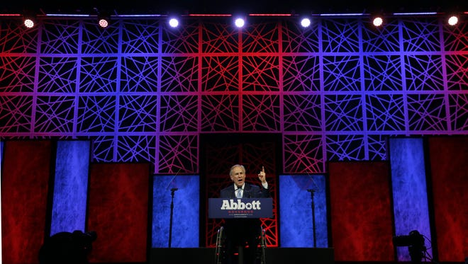 In this May 12, 2016, file photo, Texas Gov. Greg Abbott speaks during the opening of the Texas Republican Convention in Dallas.