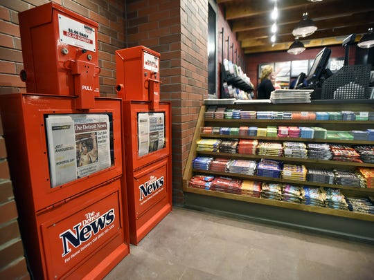 Two Newspaper Bins Filled With Recent Editions Are At The Front Entrance Of Detroit News Located Near Gate D28 In North Terminal