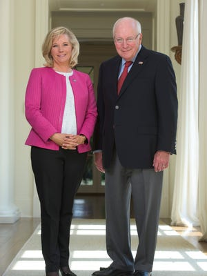 Former Vice President Dick Cheney with his daughter and co-author, Liz Cheney in this Gannett photo from August.