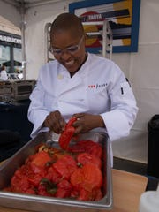 Tanya Holland cooks in the first episode of Top Chef, season 15.