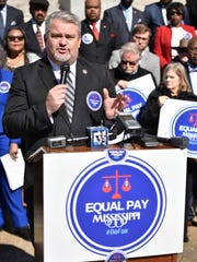 State Rep. Tracy Arnold, R-Booneville, speaks at a news conference outside the state Capitol Tuesday. Arnold is the author of House Bill 717, a bipartisan and double-referred measure. The initiative supporting equal pay reached its deadline to be voted out of committee on Tuesday.
