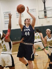 Emma Matesic (44) scored the first eight points for Immaculate Heart in the Blue Eagles' 61-32 Bergen County girls basketball victory over Hackensack. (File photo)