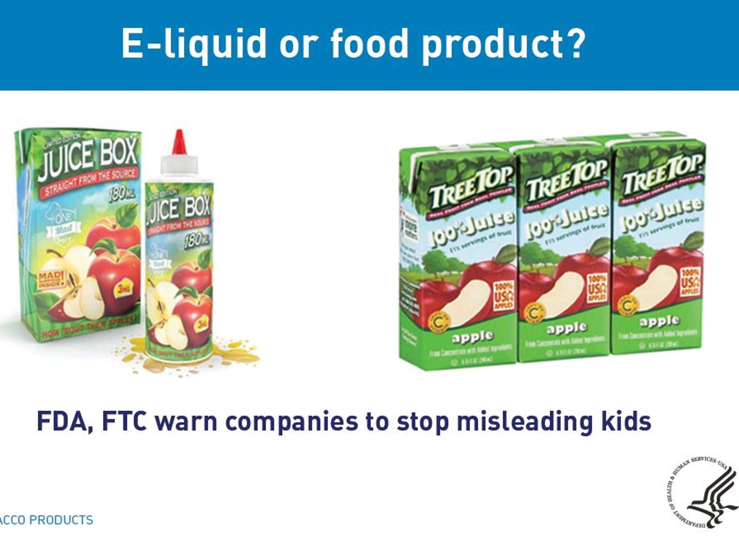The FDA and FTC issued warning letters to 13 vaping companies May 1, 2018, to stop misleading kids with deceptive packaging that makes nicotine liquid look like candy or juice.