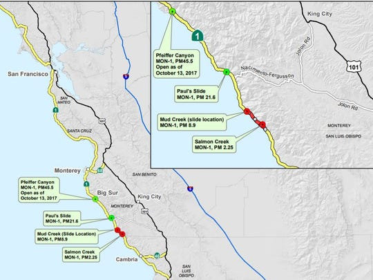 This map illustrates Pacific Coast Highway and the areas that are closed or reopened.