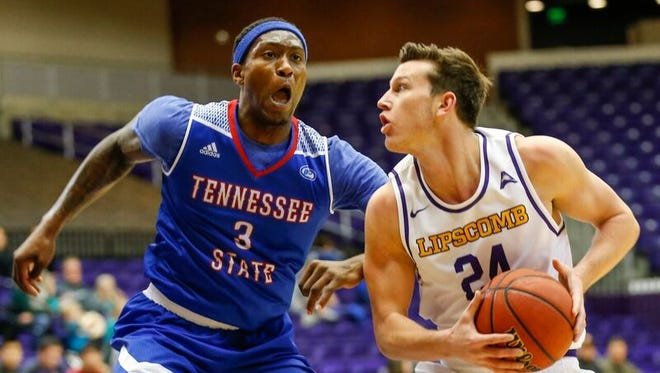 Lipscomb's Garrison Mathews drives against Tennessee State's Jordan Reed on Dec. 3, 2016.