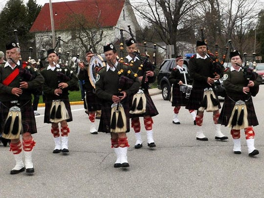 The Clan Donald Pipe and Drum Corps from the Fox Valley has led the Scottie Parade in Baileys Harbor for several years and will do so again Saturday.