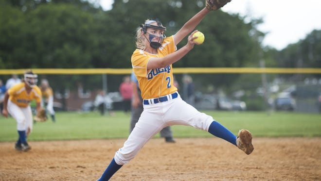 Buena's Nat Ampole delivers a pitch during the first inning of the South Jersey Group 1 softball semifinal game between Buena and Maple Shade played in Maple Shade on Friday.  05.26.17