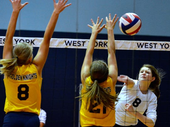 West York's Julia Rill is seen here earlier in her Bulldogs volleyball career. Rill is expected to return to the West York lineup this season after missing the 2017 campaign with a knee injury. DISPATCH FILE PHOTO