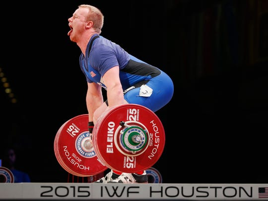 Jared Fleming competes in the men's 94 kilogram weight class during the 2015 International Weightlifting Federation World Championships at the George R. Brown Convention Center in Houston on Thursday.