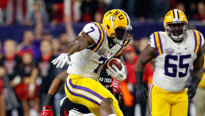 LSU running back Leonard Fournette (7) rushes against Texas Tech during the first half of the Texas Bowl NCAA football game Tuesday, Dec. 29, 2015, in Houston. LSU won 56-27.