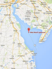 The Miah Maull Schoal, where a ship ran aground Tuesday, is marked by the Miah Maull Lighthouse, shown on this map.