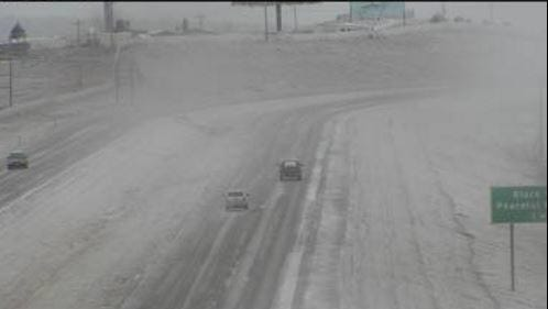 A snow camera captured the already-falling snow on I-90 west of Rapid City.