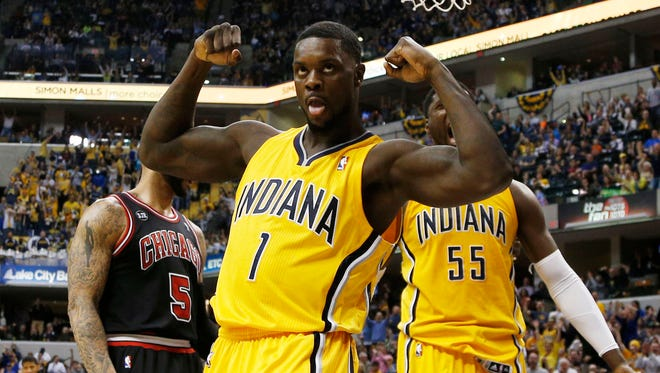 Indiana Pacers guard Lance Stephenson (1) reacts after scoring and getting fouled by the Chicago Bulls.