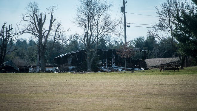 The mobile home damaged in the early morning fire on March 3, 2016 on Frederick Pike outside of Littlestown.