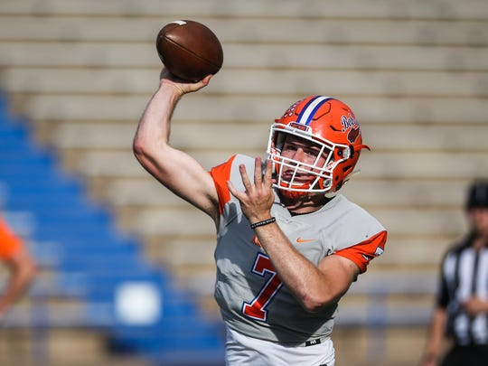 Central's Maverick McIvor throws the ball during the spring game Friday, May 18, 2018, at San Angelo Stadium.